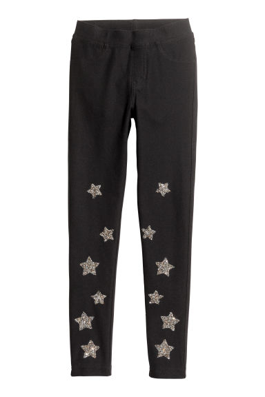 Treggings - Black/Glittery stars - Kids | H&M GB