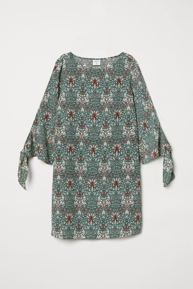 Patterned dress - Dark green/Patterned - Ladies | H&M CN