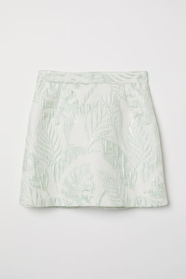 Jacquard-weave skirt - White/Light green - Ladies | H&M
