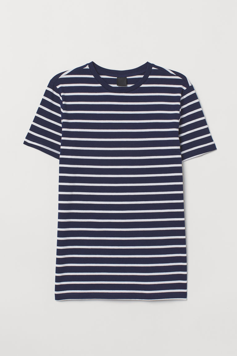 T-shirt Muscle Fit - Dark blue/White striped - Men | H&M CN