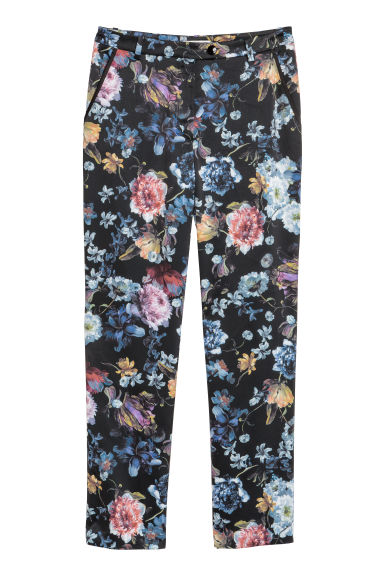 Patterned trousers - Black/Floral - Ladies | H&M