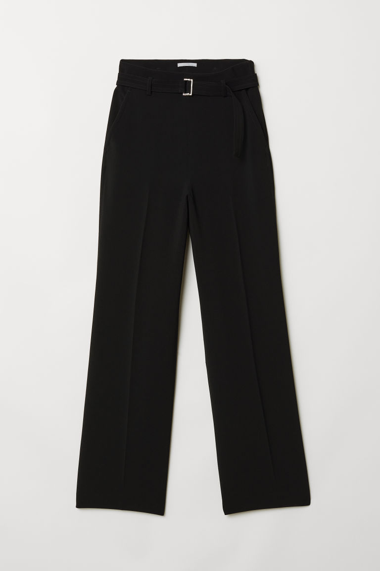 Wide trousers with a belt - Black - Ladies | H&M CN