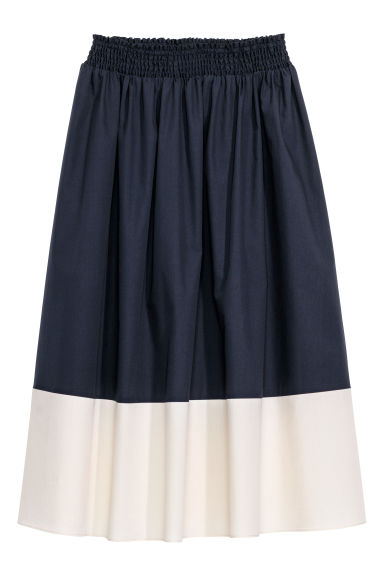 Calf-length cotton skirt - Dark blue/White - Ladies | H&M