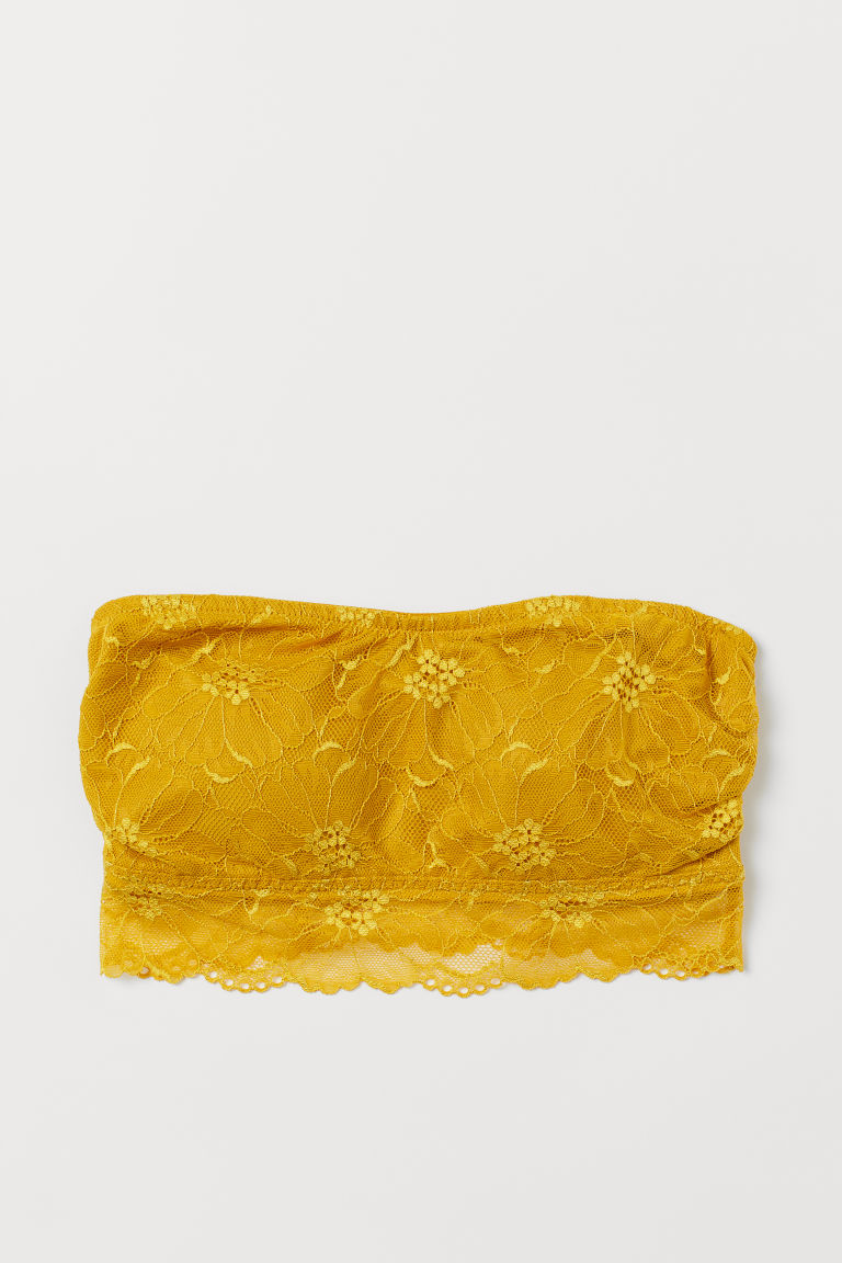 Lace bandeau bra - Yellow - Ladies | H&M GB