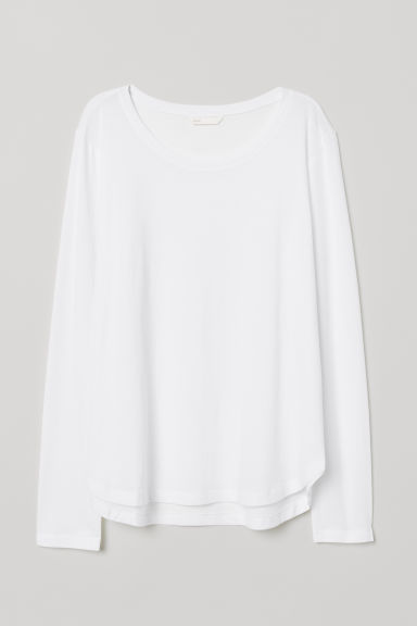 Long-sleeved jersey top - White - Ladies | H&M