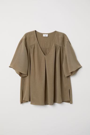Crêpe blouse - Olive green - Ladies | H&M CN
