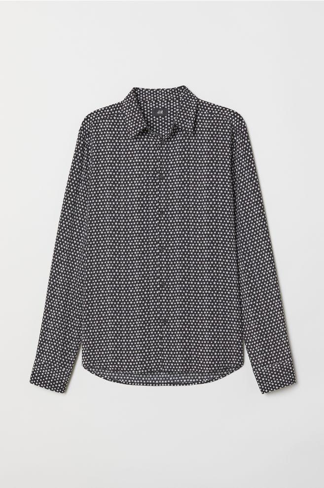 Mönstrad skjorta Slim Fit - Svart Stjärnor - HERR  92309b9189303
