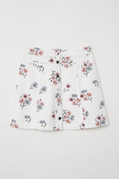 A-line skirt - White/Floral -  | H&M