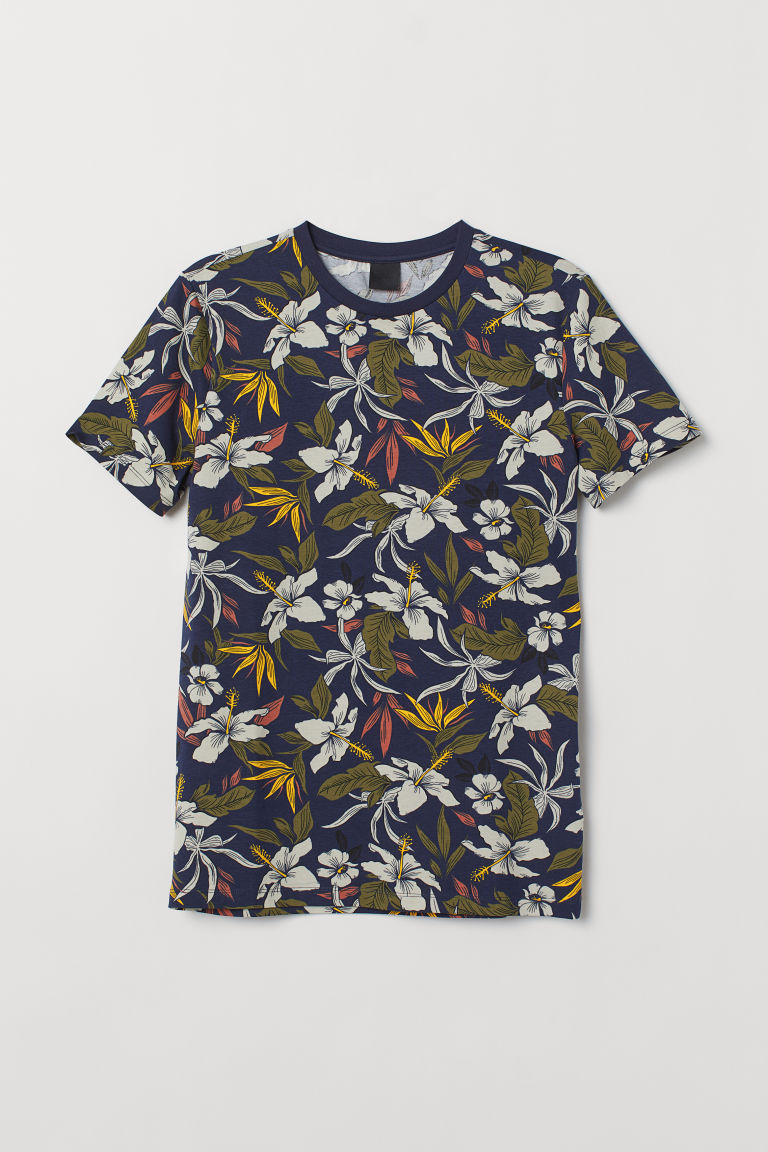 Patterned T-shirt Muscle Fit - Dark blue/Floral -  | H&M