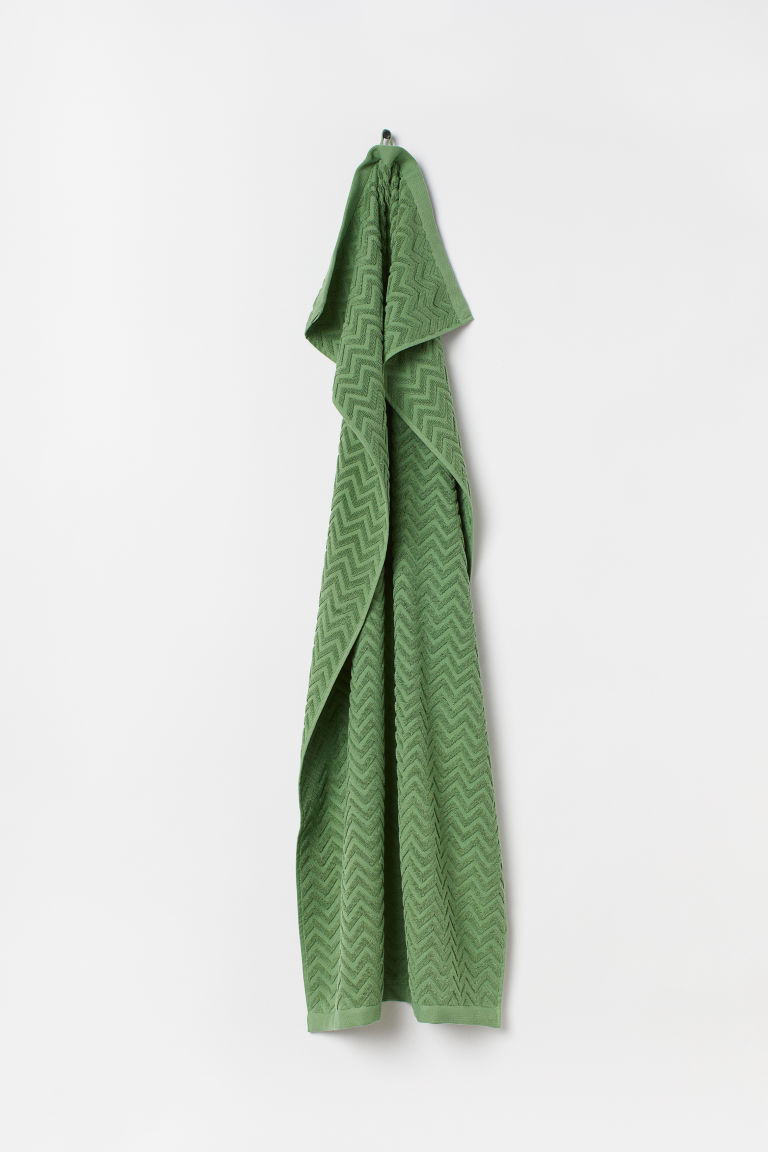 Jacquard-patterned bath towel - Dark green - Home All | H&M CN