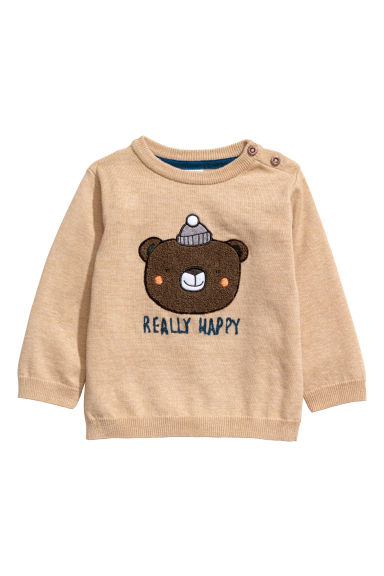 Pamuklu İnce Triko Kazak - Bej/Really Happy -  | H&M TR
