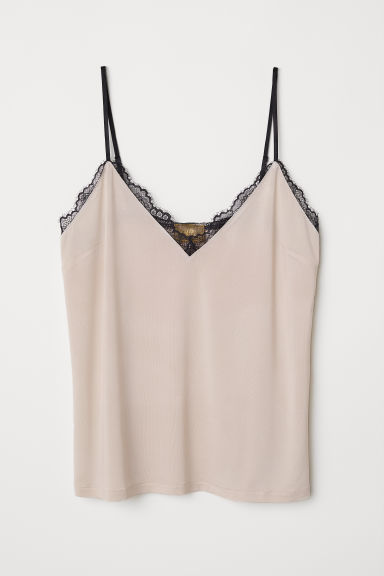 Jersey strappy top with lace - Powder beige - Ladies | H&M