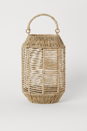 Large seagrass candle lantern