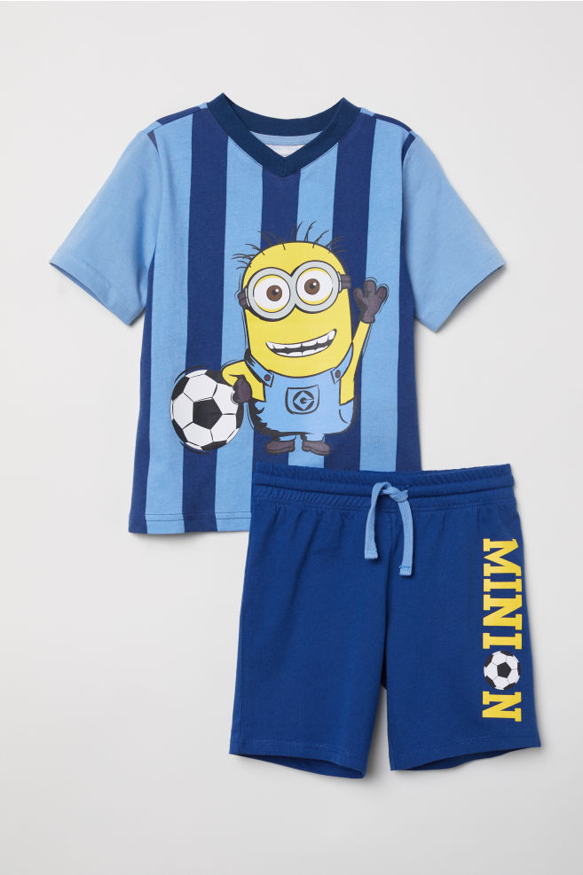 d640838f6 T-shirt and shorts - Dark blue/Minions - Kids | H&M ...