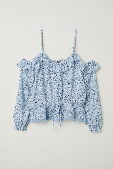 Cold shoulder blouse - Light blue/Floral -  | H&M CN