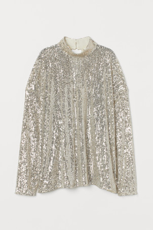 High-collared sequined top