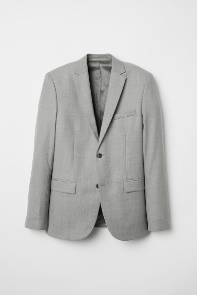 Wool jacket Slim fit - Light grey -  | H&M CN