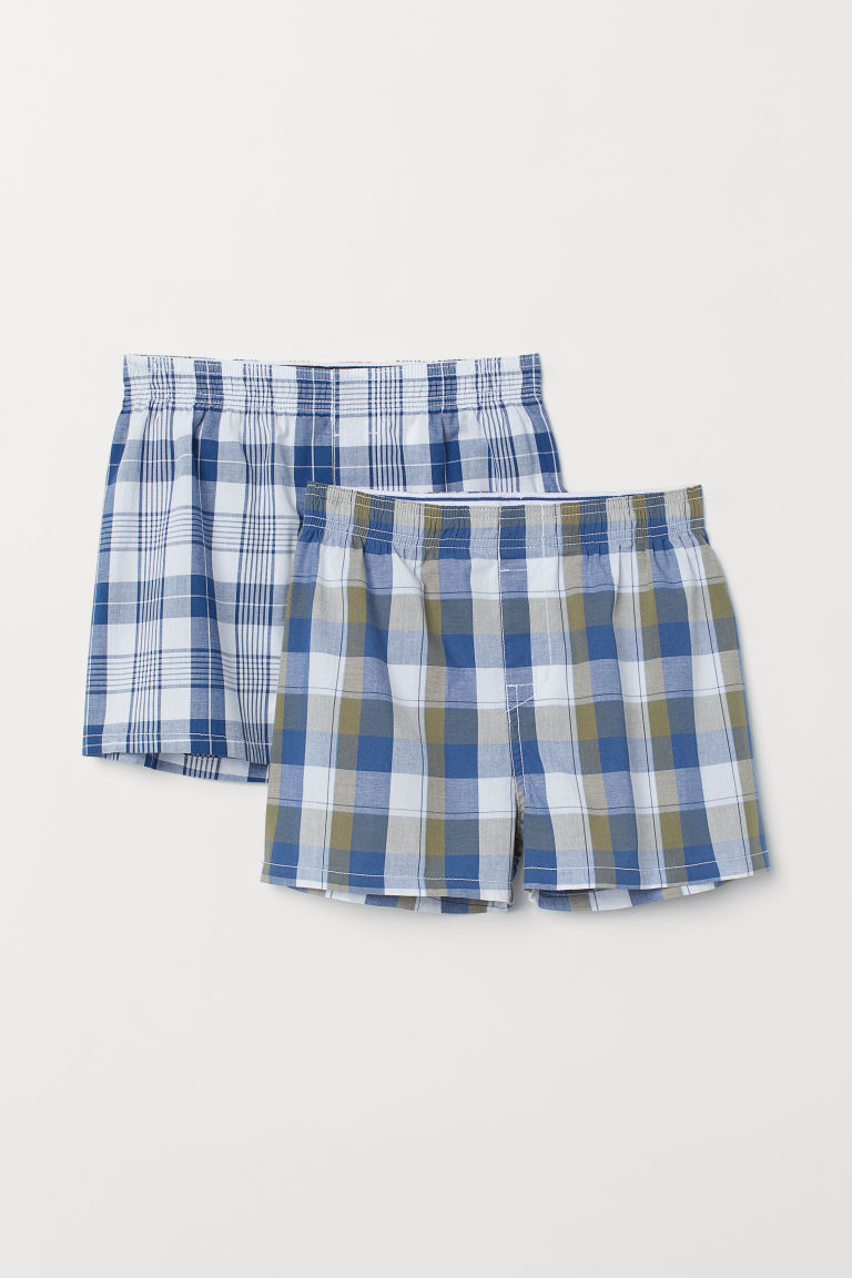 2-pack boxer shorts - Blue/White checked - Kids | H&M