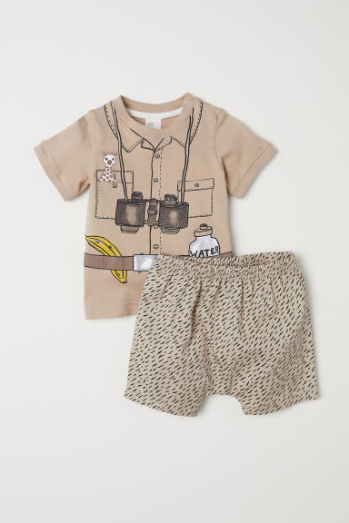 Cotton T-shirt and shorts - Beige - Kids | H&M CN
