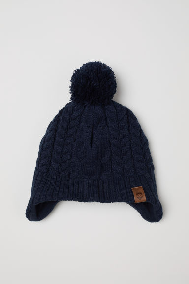 Fleece-lined hat with earflaps - Dark blue -  | H&M