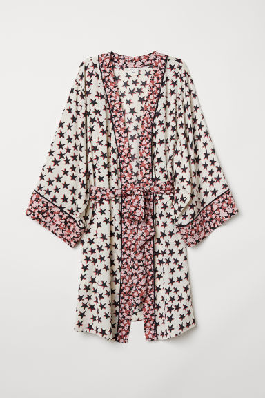 Patterned satin kimono - White/Stars - Ladies | H&M CN