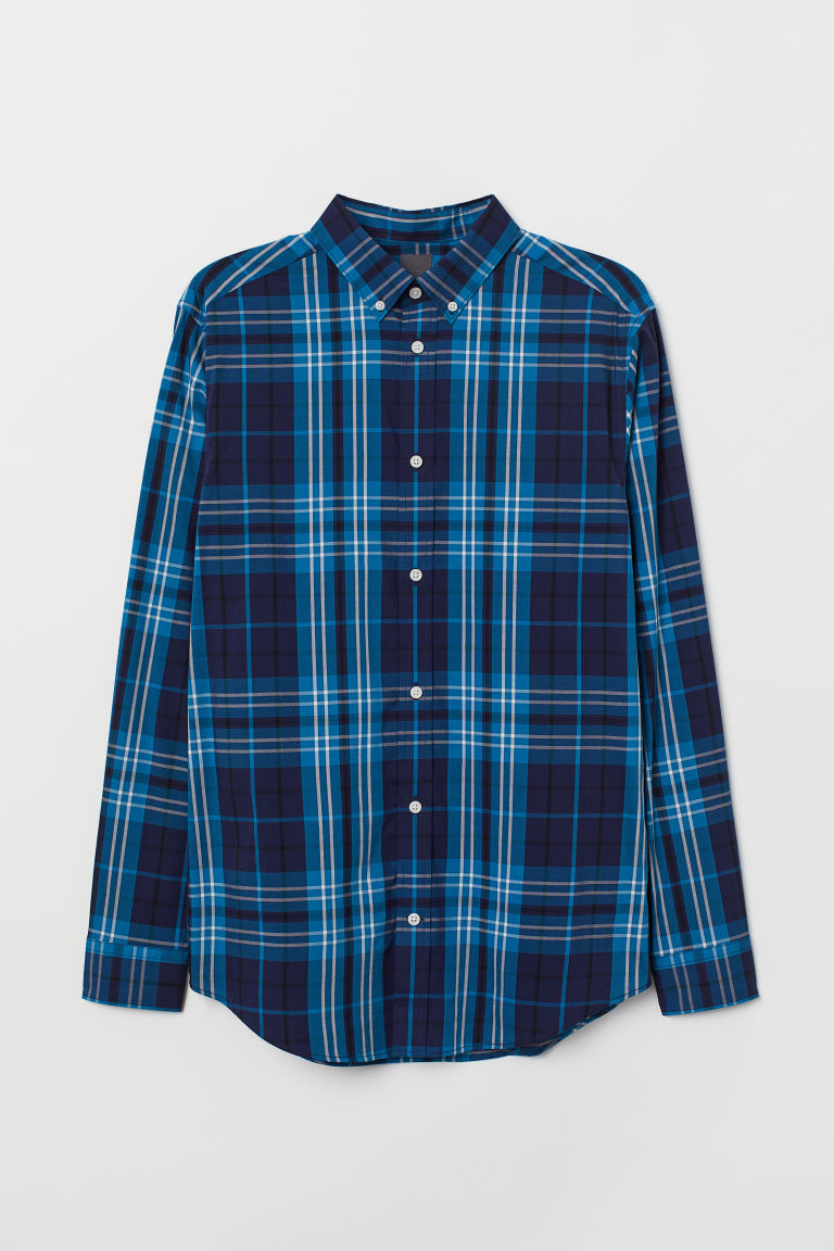 Chemise à carreaux Regular fit - Bleu/carreaux - HOMME | H&M BE