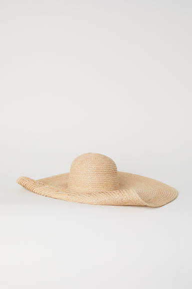 Large straw hat - Natural -  | H&M