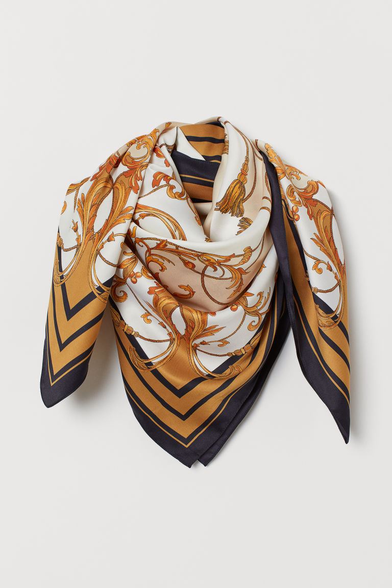 Patterned Satin Scarf - Beige/gold-colored pattern - Ladies | H&M US