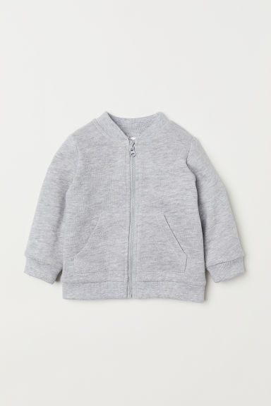 Sweatshirt cardigan - Light grey marl - Kids | H&M CN