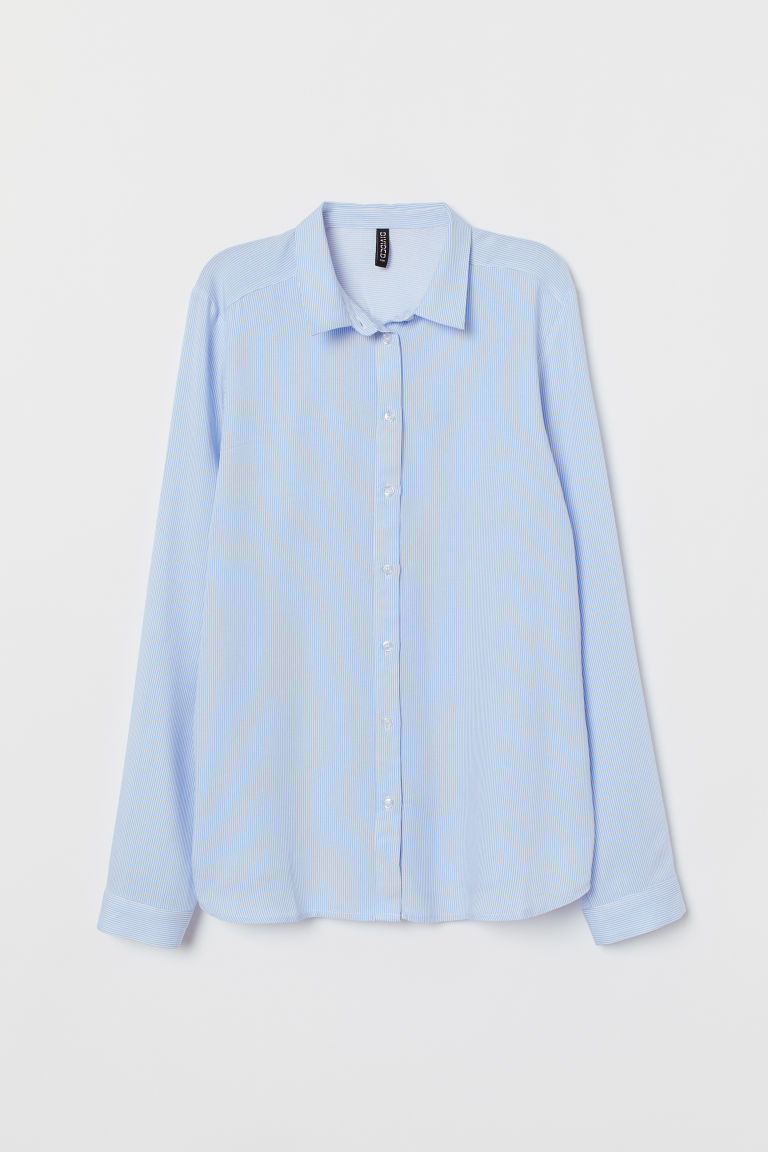 Viscose shirt - Light blue/White striped -  | H&M