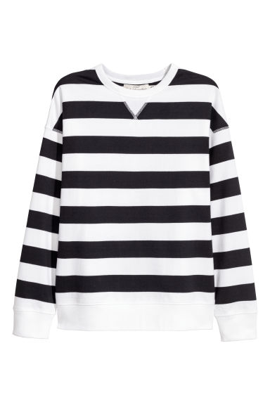 Sweatshirt - Dark blue/White striped -  | H&M