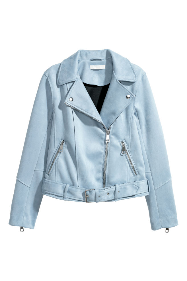 a15bac9e2 Faux Suede Biker Jacket - Light blue - Ladies