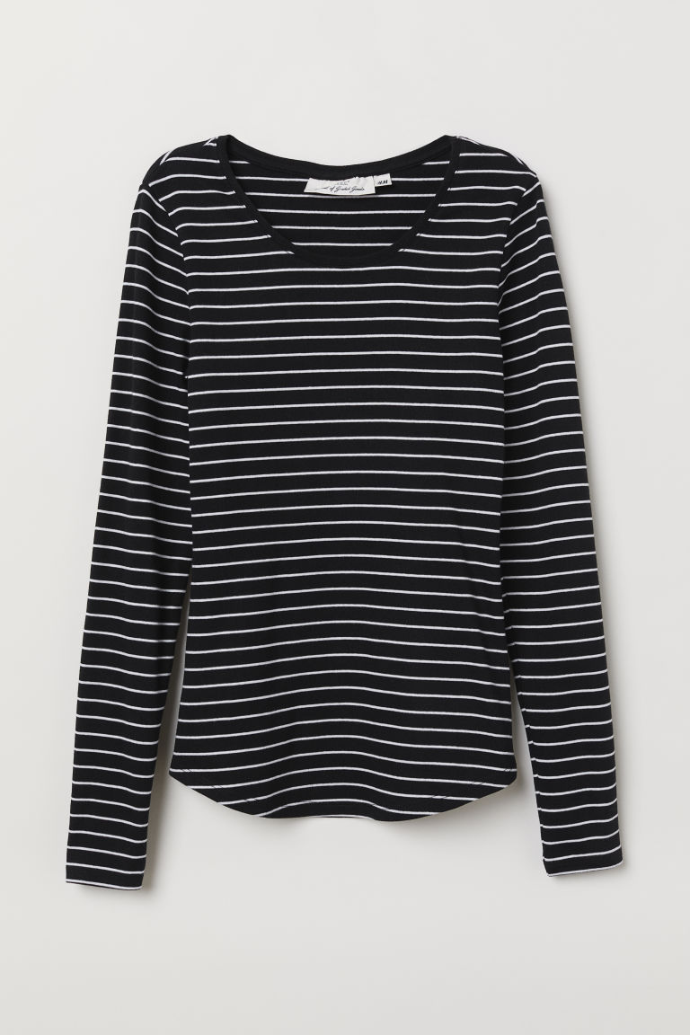 Long-sleeved jersey top - Black/White striped -  | H&M