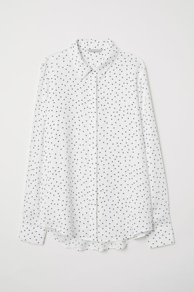 Long-sleeved blouse - White/Spotted - Ladies | H&M