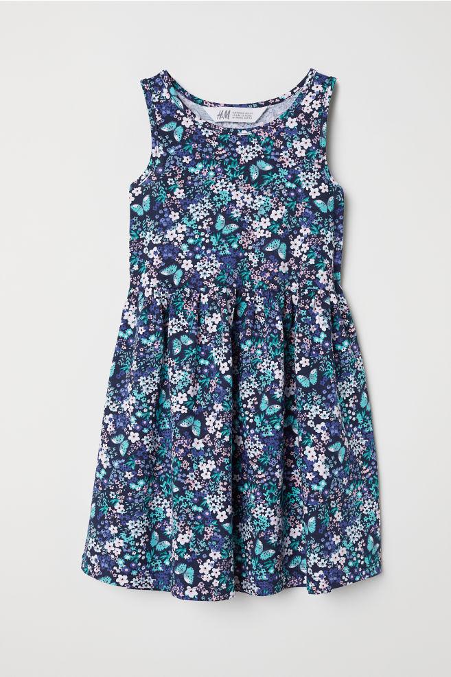 90c2777ff039b3 Mouwloze tricot jurk - Donkerblauw bloemen - KINDEREN