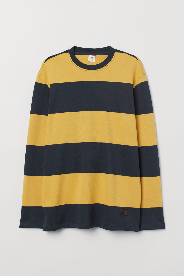 Striped cotton top - Dark blue/Yellow striped - Men | H&M CN