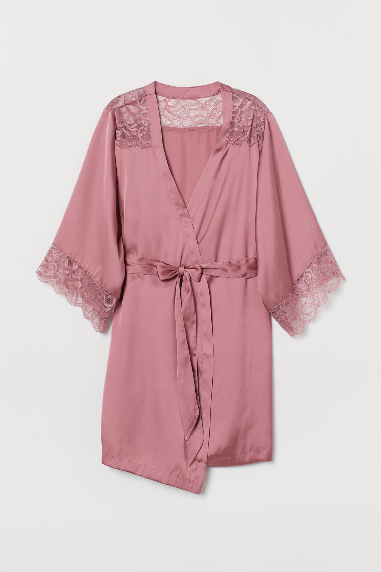 Satin and lace kimono - Vintage pink - Ladies | H&M GB