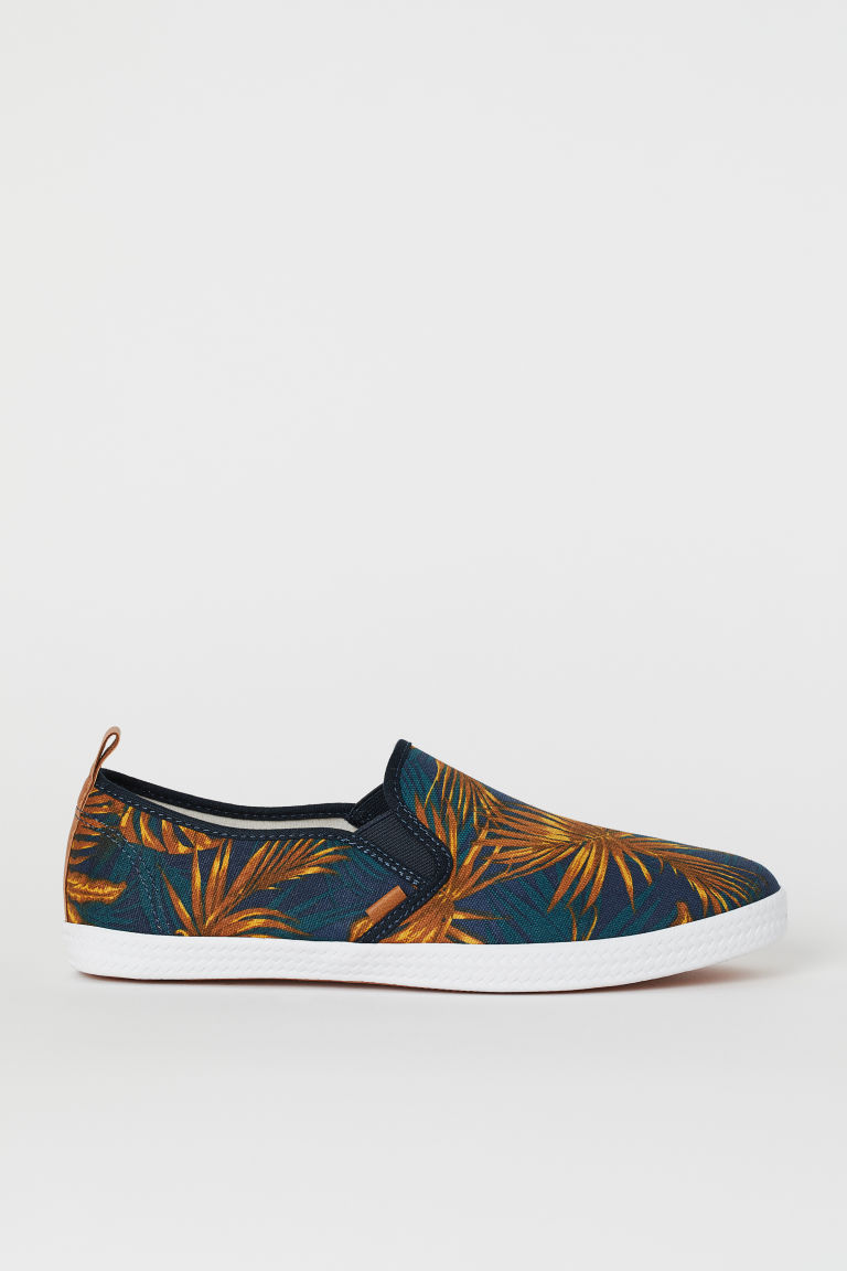 Slip-on trainers - Dark blue/Palm trees -  | H&M