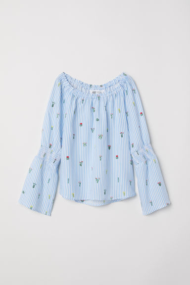 Top - Light blue striped/Cactuses -  | H&M