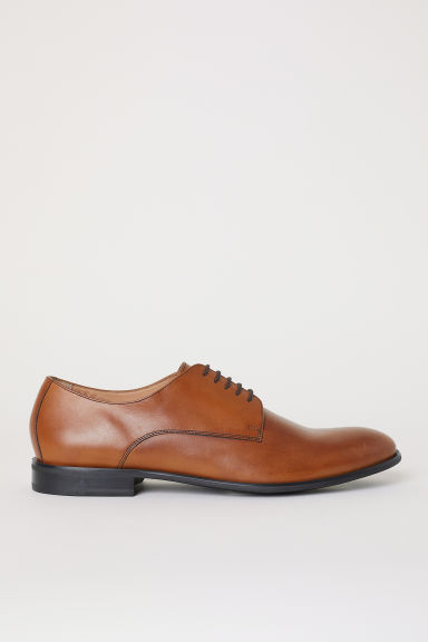 Leather Derby shoes - Light brown - Men | H&M