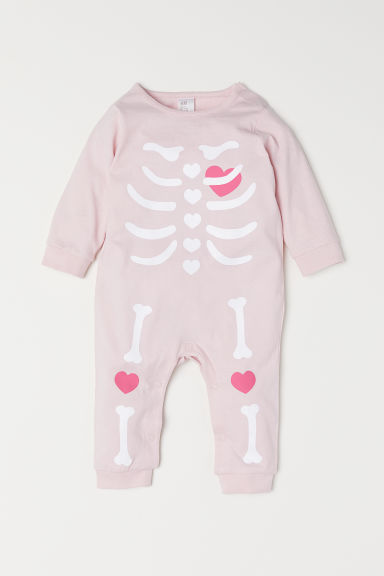 Printed all-in-one pyjamas - Light pink/Skeleton - Kids | H&M