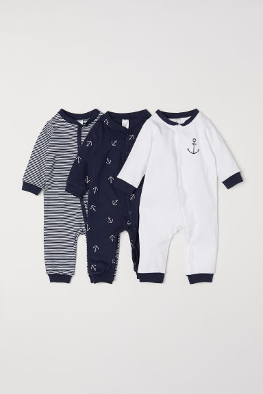 3-pack Cotton Jumpsuits - Dark blue/anchors - Kids | H&M US