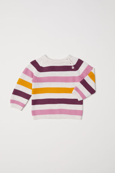 Textured-knit jumper - Light beige marl/Pink - Kids | H&M
