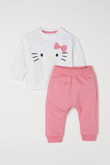 Sweatshirt and trousers - White/Hello Kitty - Kids | H&M