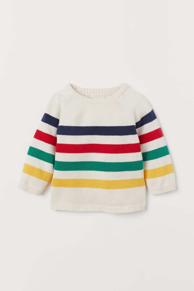 Knit Cotton Sweater - Natural white/striped - Kids | H&M US