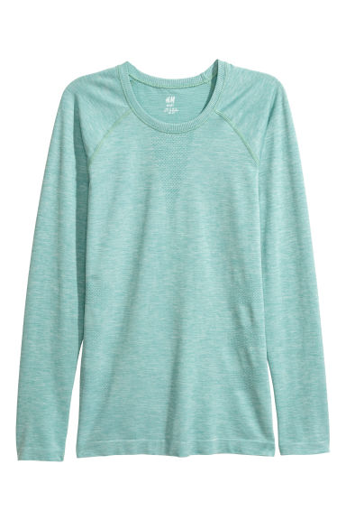 Seamless sports top - Light green marl -  | H&M