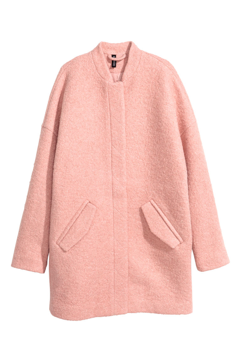 Coat in bouclé yarn - Vintage pink - Ladies | H&M CN