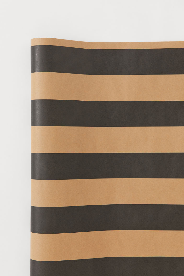 Gift wrap - Black/Beige striped - Home All | H&M GB