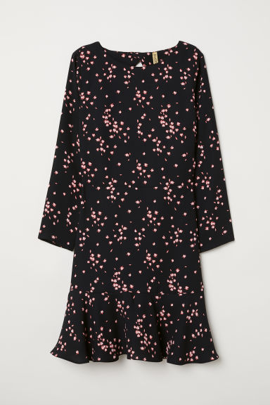 Patterned dress - Black/Floral -  | H&M CN