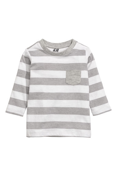 Jersey top - Grey/White striped - Kids | H&M CN